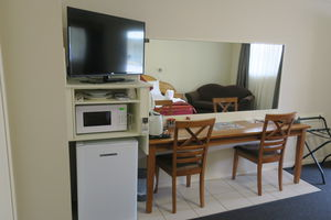Kitchenette and TV | LED TV with cable channels, Microwave , toaster , Fridge | Deluxe King With Spa